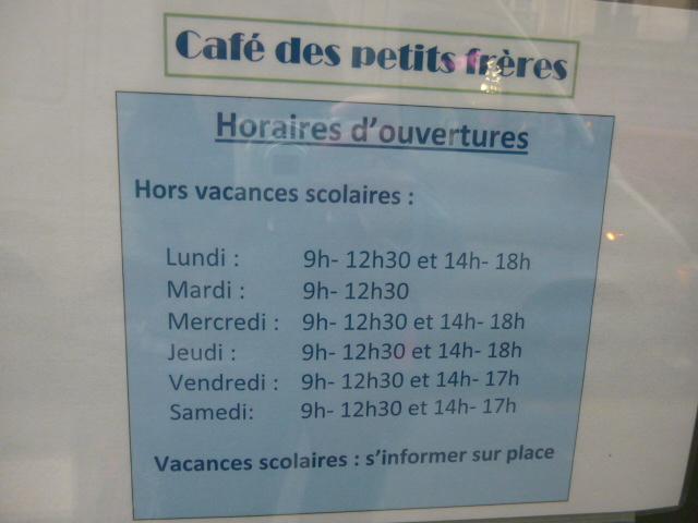 Horaires du Café des Petits Frères