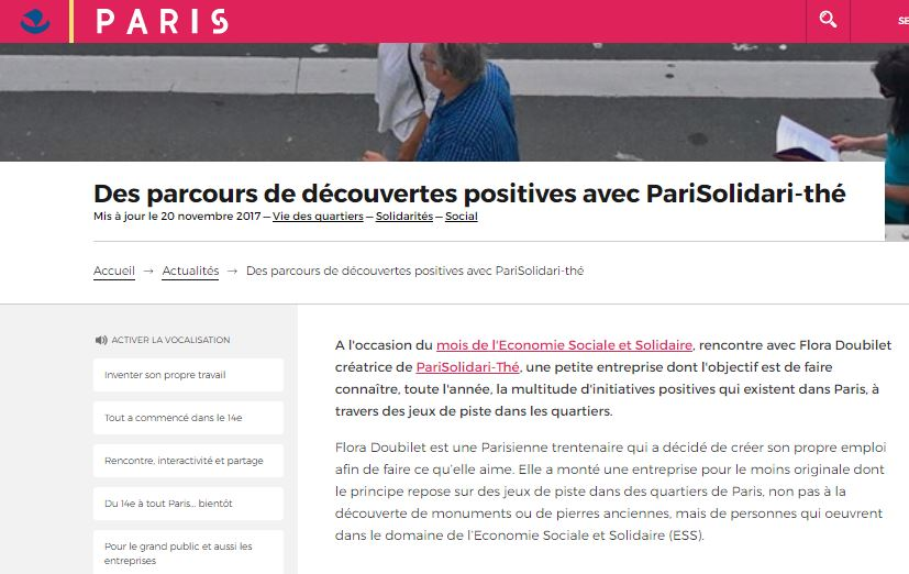 Article paris flora parisolidari the jeu piste actualite