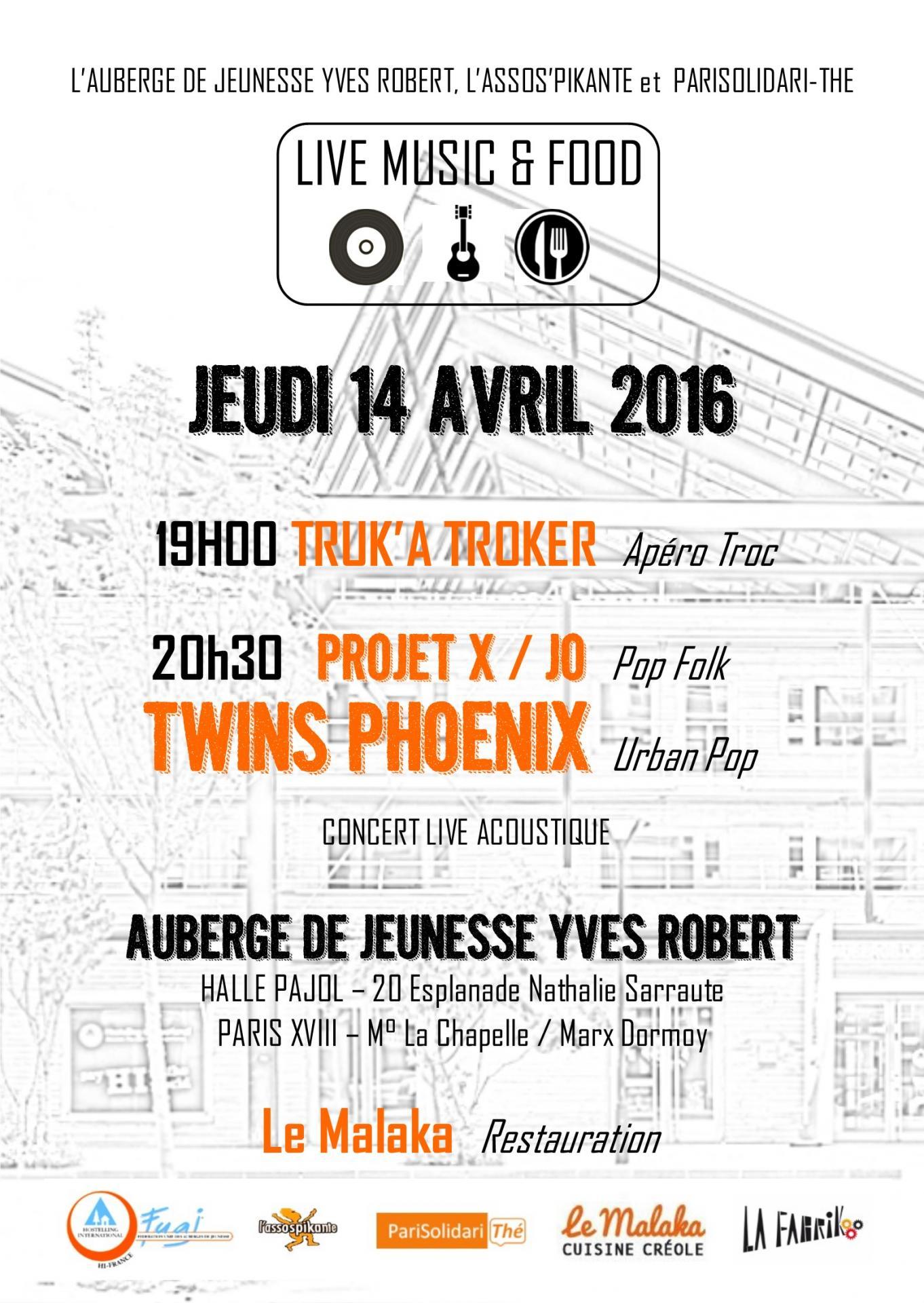 Apéro troc & concert auberge de jeunesse Yves Robert et PariSolidari-Thé